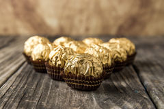 Ferrero Rocher Chocolate Hazelnut Candy in Gold Foil Royalty Free Stock Photos