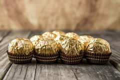 Ferrero Rocher Chocolate Hazelnut Candy in Gold Foil Royalty Free Stock Image