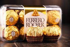 Ferrero Rocher chocolate sweets. POZNAN, POLAND - DEC 7, 2017: Ferrero Rocher premium chocolate sweets produced by the Italian chocolatier Ferrero SpA., sold in Royalty Free Stock Images