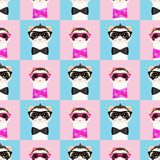 Ferret girl and boy portrait with glasses. Seamless pattern. Vector illustration. Ferret girl and boy portrait with glasses. Seamless pattern. Vector Royalty Free Stock Photography