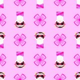 Ferret girl portrait with pink glasses and scarff. Seamless pattern. Vector illustration. Ferret girl portrait with pink glasses and scarff. Seamless pattern Royalty Free Stock Image