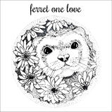 Ferret handdrawn illustration with flowers Royalty Free Stock Photos