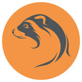 Ferret icon and silhouette. Ferret head icon and silhouette. in one color Stock Photo