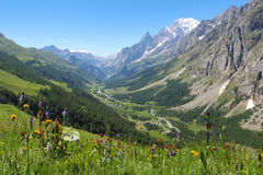 Ferret Valley and Mont Blanc panoramic view. Courmayeur , Italy Royalty Free Stock Photo