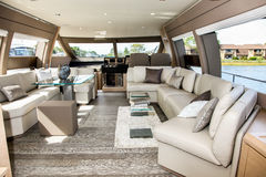 Ferretti yacht 690. NORWALK, CT - SEPTEMBER 25: Ferretti yacht 690 interior  at Norwalk boat show in September 25, 2015 in Norwalk, CT Stock Image