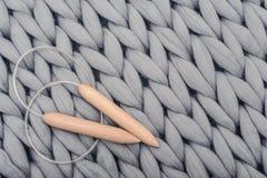 Ferri da maglia sulla coperta tricottata gray Fotografia Stock Libera da Diritti