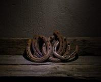 Ferri di cavallo d'annata Fotografia Stock Libera da Diritti