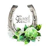 Ferri di cavallo dell'acquerello con progettazione floreale Fotografia Stock