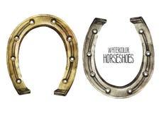 Ferri di cavallo dell'acquerello nei colori dorati e d'argento Immagine Stock Libera da Diritti