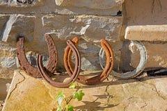 Ferri di cavallo fortunati Fotografia Stock Libera da Diritti