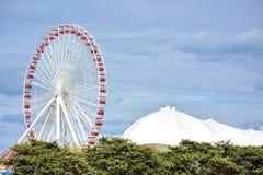 Ferri wheel of Navy Pier, Chicago. Chicago Navy Pier ferri wheel beside Michigan Lake, Chicago city, Illinois, United States Stock Images