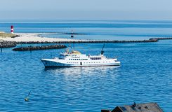 On of the ferries anchored between Helgoland and the Dune stock photos