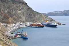 Ferries at Athinios Port Stock Photography