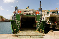 Ferries awaiting cargo and passengers at the grenadines wharf Royalty Free Stock Photography