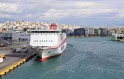 Ferries docked at Pireus Port in Athens Stock Photography