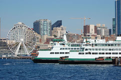 Ferries and Ferris Wheel Royalty Free Stock Photo