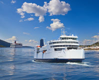 Ferries in a fjord of Norway Stock Photos