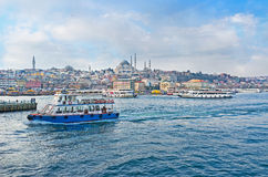 The ferries in the Golden Horn Bay Royalty Free Stock Photography