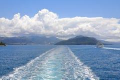 Ferries from Igoumenitsa to Kerkyra Corfu Island with town of Igoumenitsa at the back, Ionian Sea, Greece, Europe royalty free stock photos