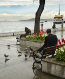 Ferries in Istanbul. Commuter ferries have been operating on th. Istanbul, Turkey - April 18, 2014:  Ferries in Istanbul Stock Image
