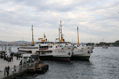 Ferries in Karakoy Port, Istanbul Royalty Free Stock Photos