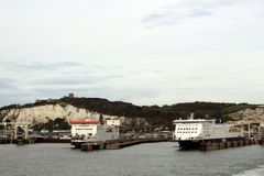 Ferries in the port of Dover. Dover is a very important port in the English Channel stock photography