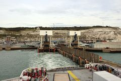 Ferries in the port of Dover. Dover is a very important port in the English Channel royalty free stock photography