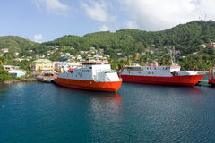 Ferries at port elizabeth, bequia. Ships used to transfer passengers and cargo throughout the windward islands Stock Photography