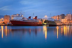Ferries in port of Piraeus in Athens. Royalty Free Stock Photography