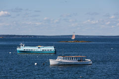 Ferries and Schooner Royalty Free Stock Photos