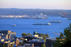 Ferries transport in Seattle bay. Royalty Free Stock Image