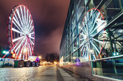 Ferries wheel in night park Stock Photography