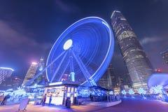 Ferris катит внутри город Гонконга стоковое фото