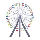 Ferris big observation rotating wheel with multiple passenger-carrying cars. Or cabins attached to rim vector illustration of amusement park attraction isolated Royalty Free Stock Image