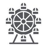 Ferris koła glifu ikona, funfair i rozrywka, carousel znak, wektorowe grafika, bryła wzór na bielu ilustracja wektor
