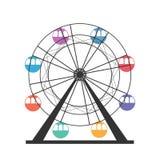 Ferris koła ikona Karnawał Funfair Carousel rozrywkowy ferris noc parka wektoru koło ilustracji