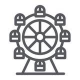 Ferris koła linii ikona, funfair i rozrywka, carousel znak, wektorowe grafika, liniowy wzór na bielu ilustracja wektor
