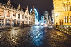 Ferris koło na Ghent zimy festiwalu Zdjęcia Royalty Free