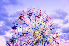Ferris koło przy jarmarkiem w Myanmar przy zmierzchem Obraz Stock