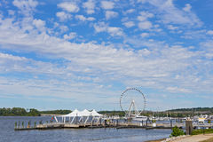 Ferris of National Harbor and piers in Maryland, USA. Stock Photography