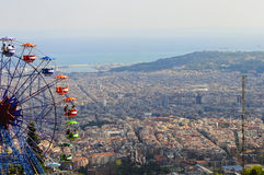 Ferris rijden op Tibidabo, Barcelona Stock Afbeelding