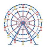 Ferris roda dentro um estilo liso em um fundo isolado Imagem de Stock Royalty Free