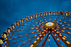 Ferris wheel. At dusk, ahot taken from below to show size royalty free stock images