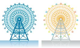 Ferris Wheel. Two illustrations of a Ferris wheel at the fair Stock Photos
