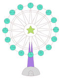 Ferris wheel. Illustration drawing of beautiful colourful ferris wheel Stock Photo