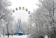 Ferris wheel. In winter park Stock Photography