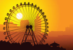 Ferris wheel. A silhouette of a ferris wheel at sunset Royalty Free Stock Photos