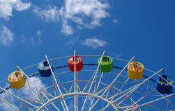 Ferris Wheel. In the spring amusement park awaits visitors stock images