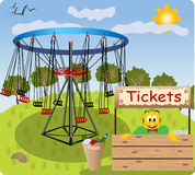 Ferris wheel. Color illustration of a Ferris wheel and a small funny man who collect tickets to the ride Stock Images