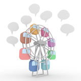 Ferris wheel. Speaking people from the amusement park Ferris wheel. Balloon Royalty Free Stock Images